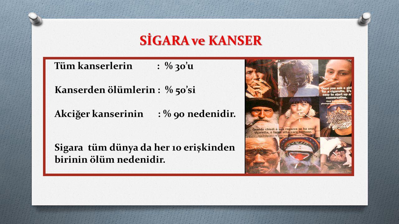 SİGARA ve KANSER Tüm kanserlerin : % 30'u
