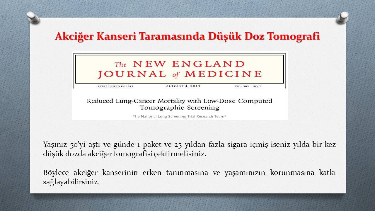Akciğer Kanseri Taramasında Düşük Doz Tomografi