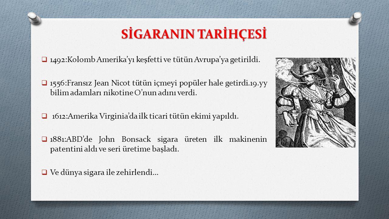 SİGARANIN TARİHÇESİ 1492:Kolomb Amerika'yı keşfetti ve tütün Avrupa'ya getirildi.