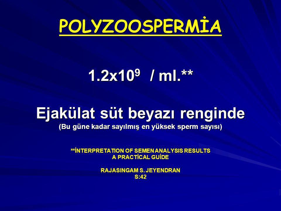 POLYZOOSPERMİA 1.2x109 / ml.** Ejakülat süt beyazı renginde