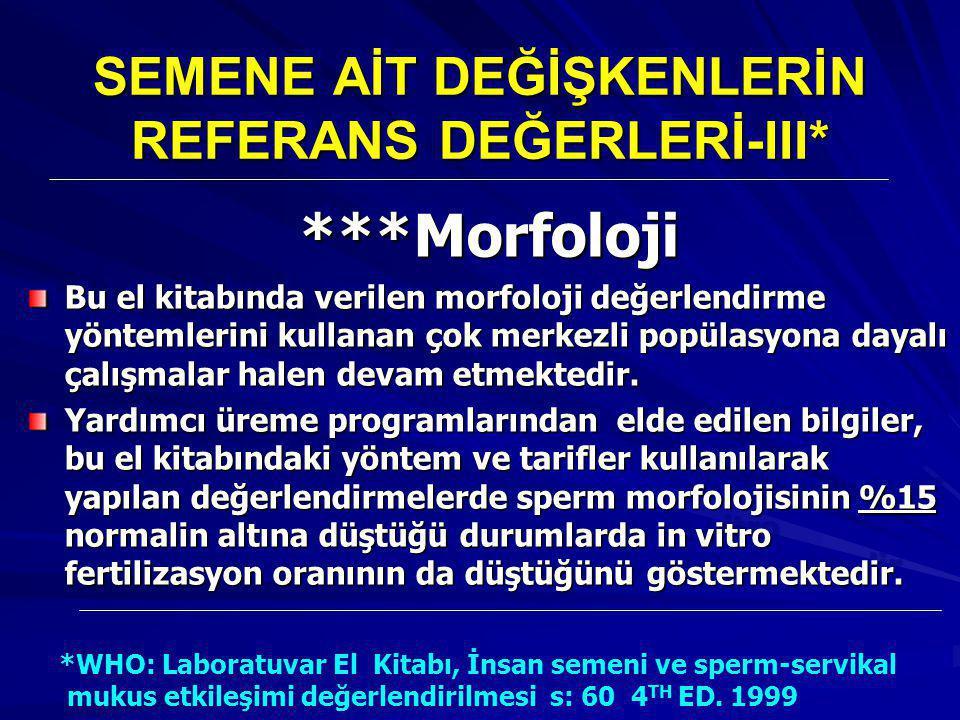 SEMENE AİT DEĞİŞKENLERİN REFERANS DEĞERLERİ-III*