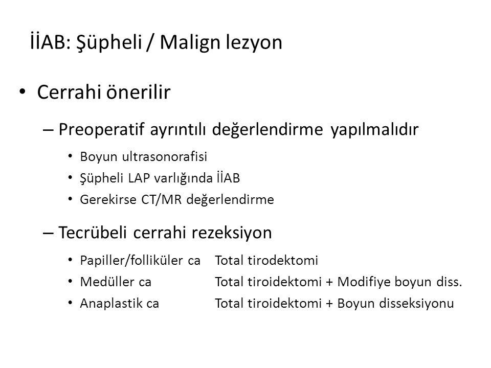 İİAB: Şüpheli / Malign lezyon