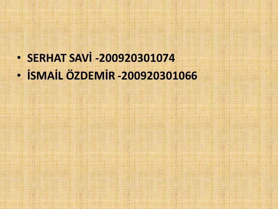 SERHAT SAVİ -200920301074 İSMAİL ÖZDEMİR -200920301066