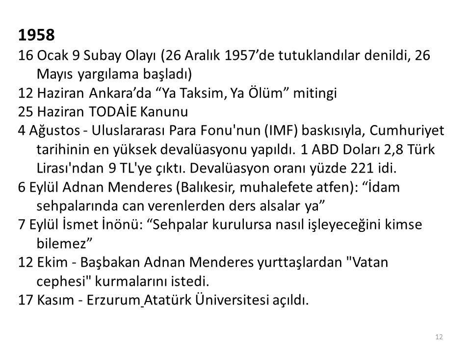 1958 16 Ocak 9 Subay Olayı (26 Aralık 1957'de tutuklandılar denildi, 26 Mayıs yargılama başladı) 12 Haziran Ankara'da Ya Taksim, Ya Ölüm mitingi.