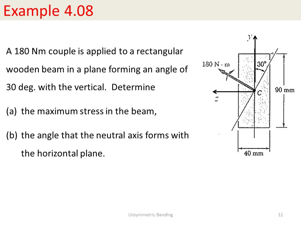 Example 4.08 A 180 Nm couple is applied to a rectangular wooden beam in a plane forming an angle of 30 deg. with the vertical. Determine.