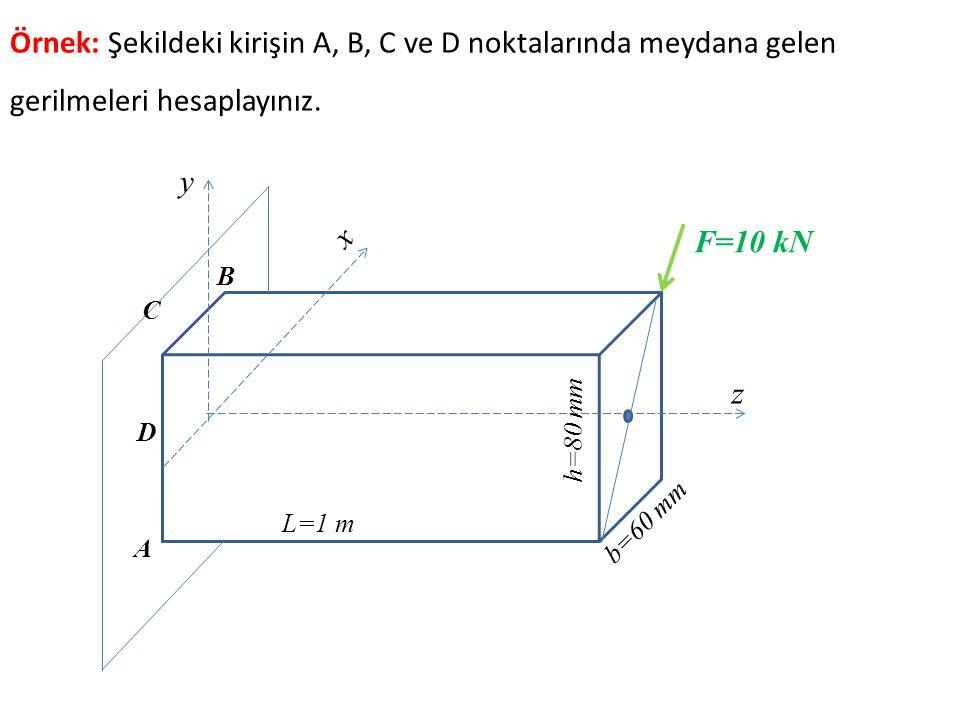 Örnek: Şekildeki kirişin A, B, C ve D noktalarında meydana gelen gerilmeleri hesaplayınız.