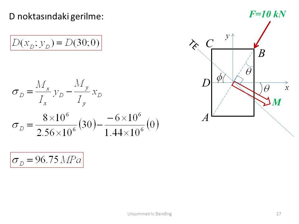 x y F=10 kN M A B TE D noktasındaki gerilme: C D Unsymmetric Bending