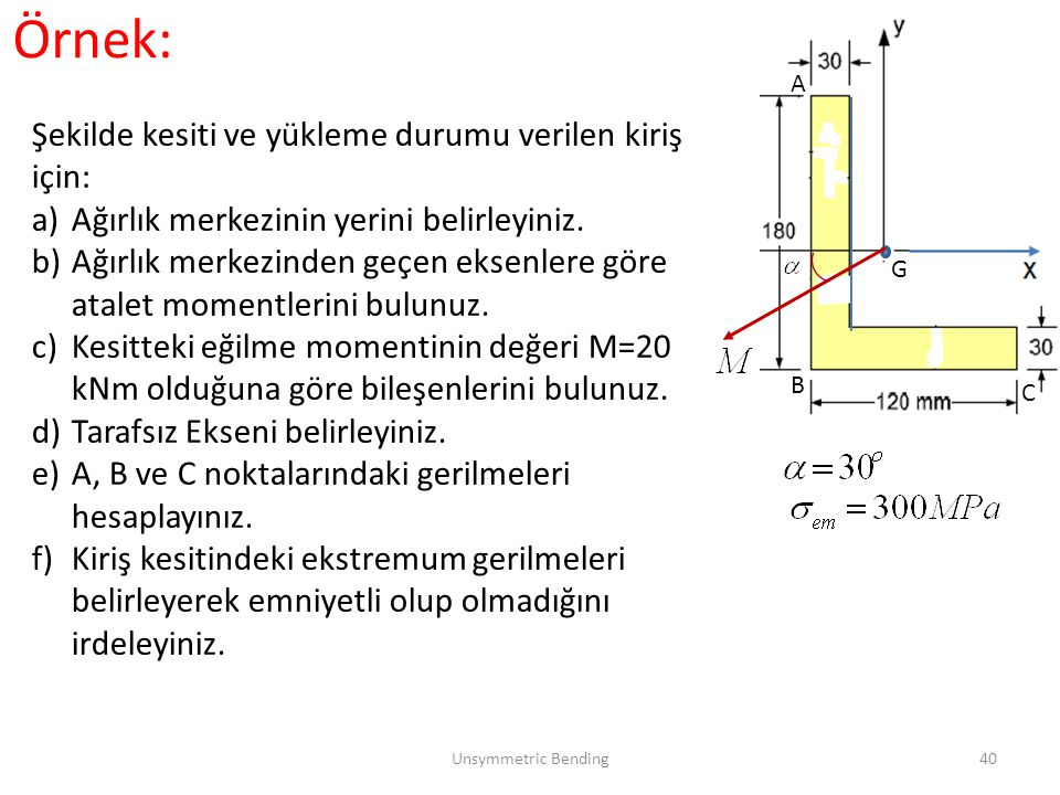 Örnek: Şekilde kesiti ve yükleme durumu verilen kiriş için: