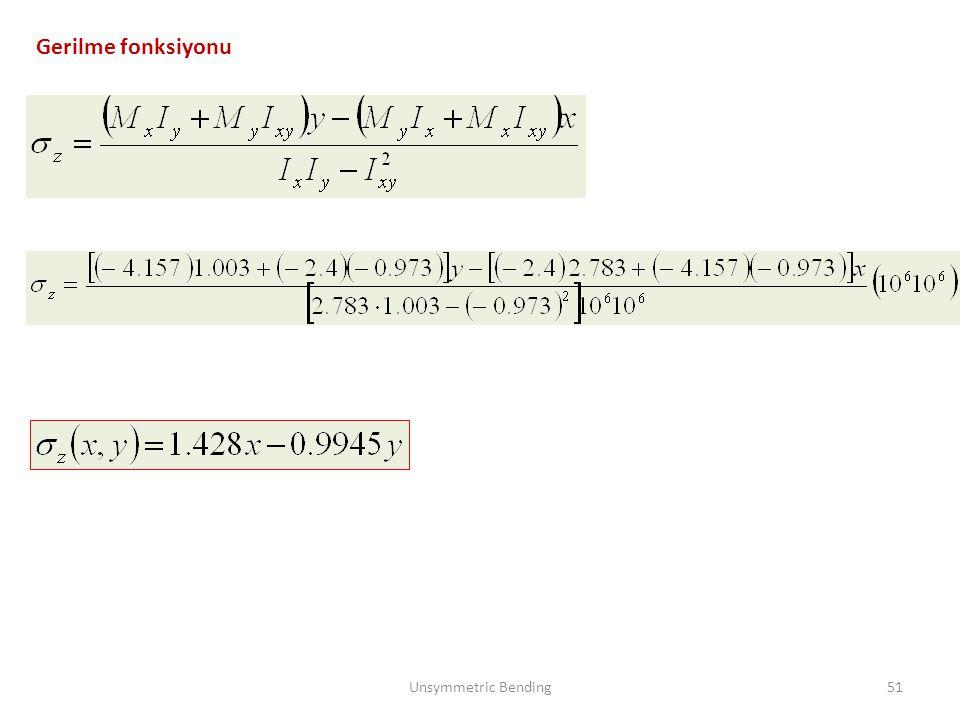 Gerilme fonksiyonu Unsymmetric Bending