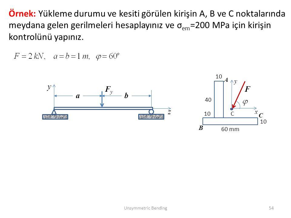 Örnek: Yükleme durumu ve kesiti görülen kirişin A, B ve C noktalarında meydana gelen gerilmeleri hesaplayınız ve σem=200 MPa için kirişin kontrolünü yapınız.