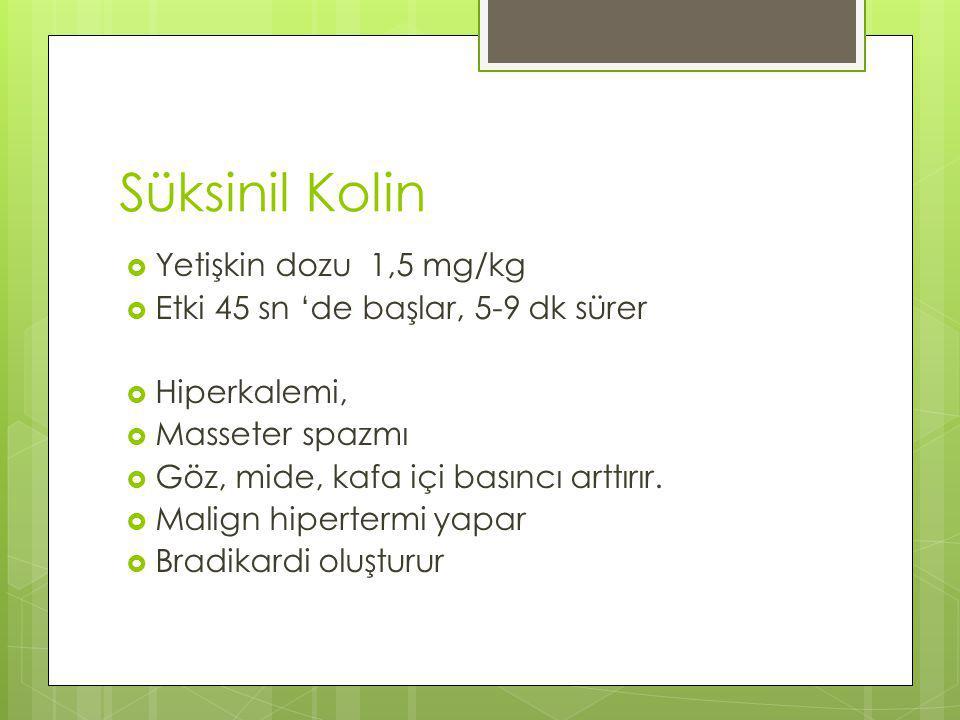 Süksinil Kolin Yetişkin dozu 1,5 mg/kg