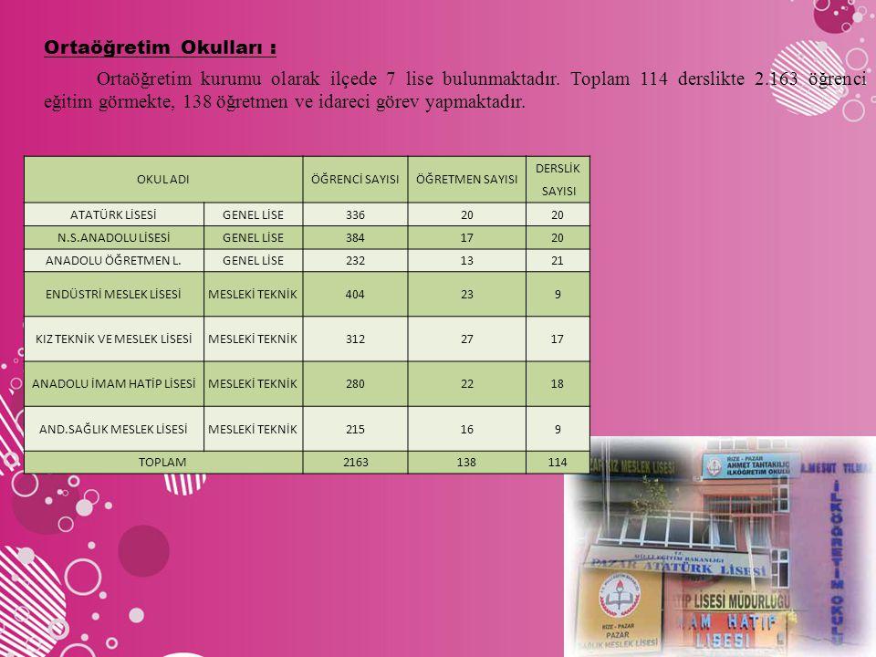Ortaöğretim Okulları : Ortaöğretim kurumu olarak ilçede 7 lise bulunmaktadır. Toplam 114 derslikte 2.163 öğrenci eğitim görmekte, 138 öğretmen ve idareci görev yapmaktadır.