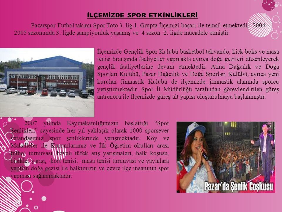 İLÇEMİZDE SPOR ETKİNLİKLERİ Pazarspor Futbol takımı Spor Toto 3. lig 1