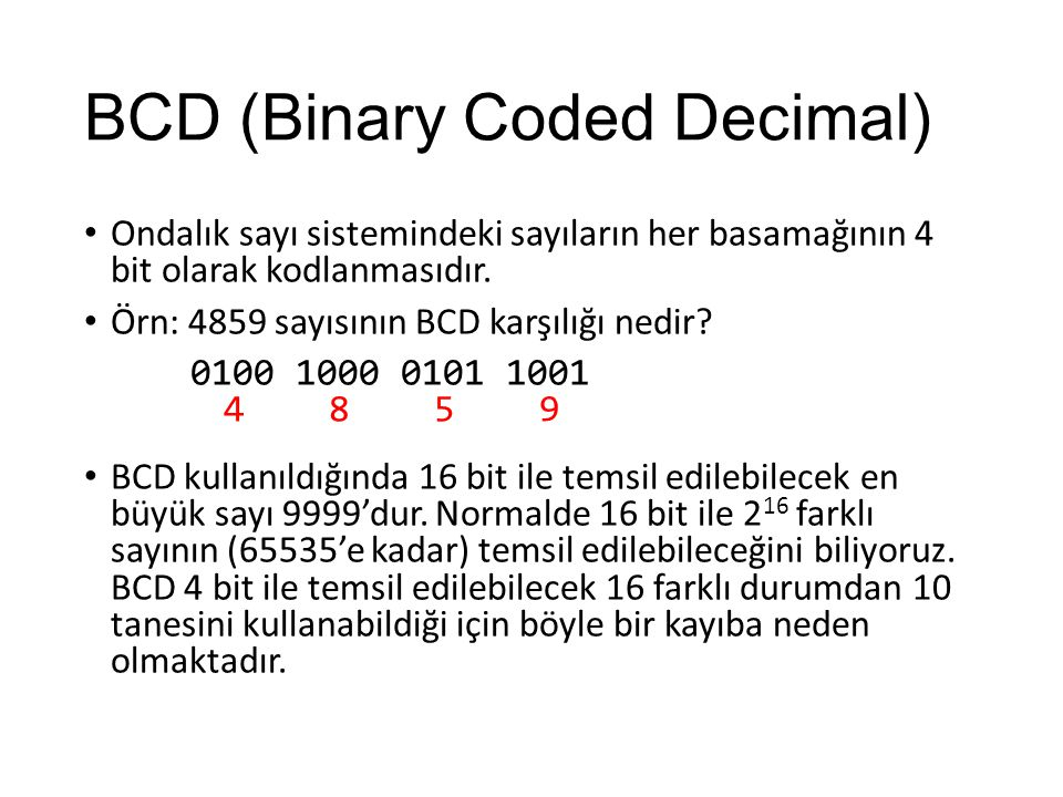 BCD (Binary Coded Decimal)