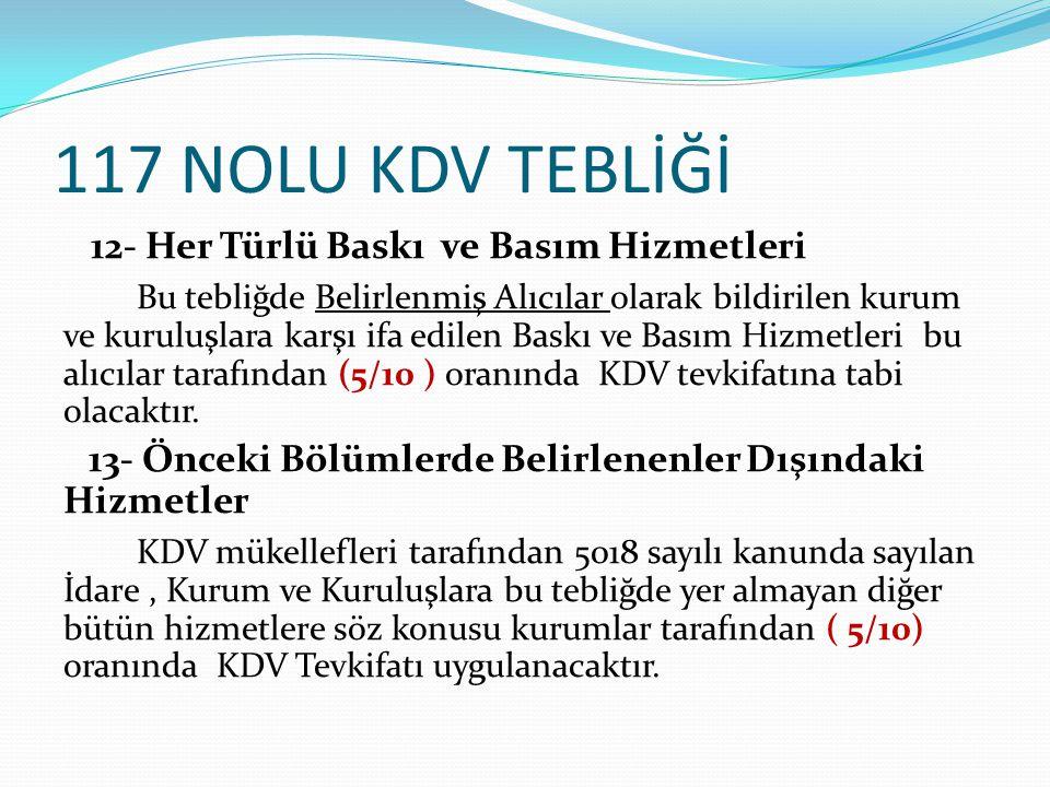117 NOLU KDV TEBLİĞİ 12- Her Türlü Baskı ve Basım Hizmetleri