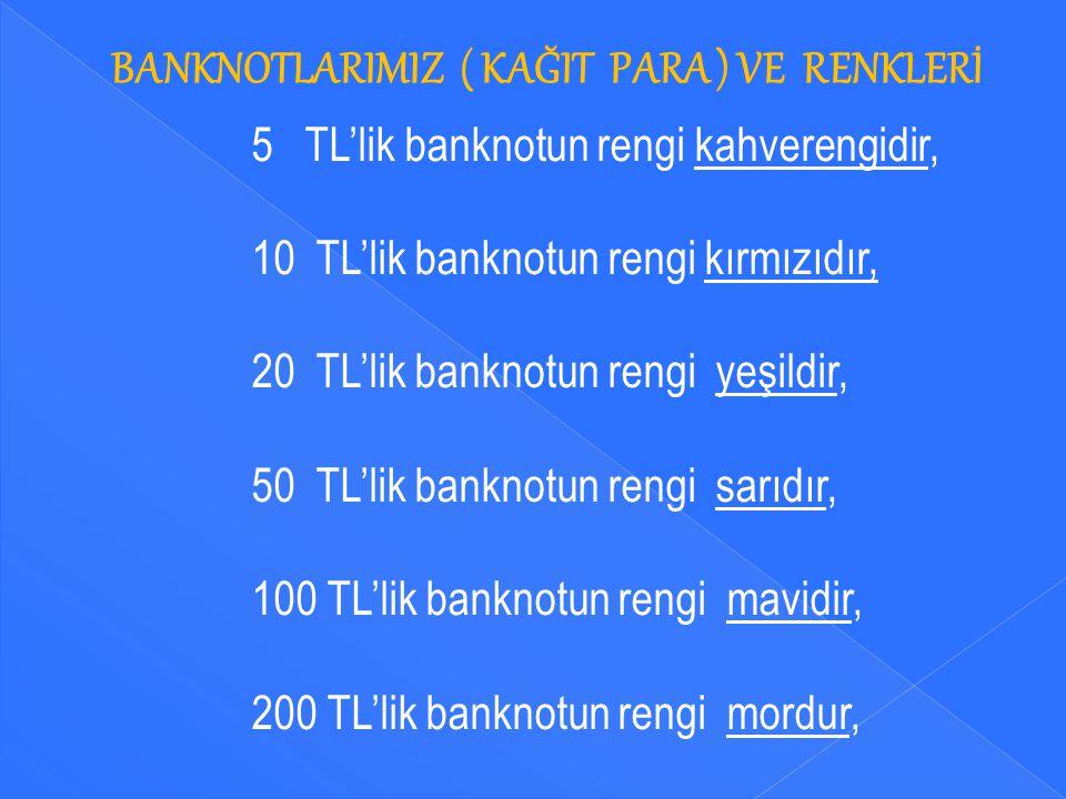 BANKNOTLARIMIZ ( KAĞIT PARA ) VE RENKLERİ