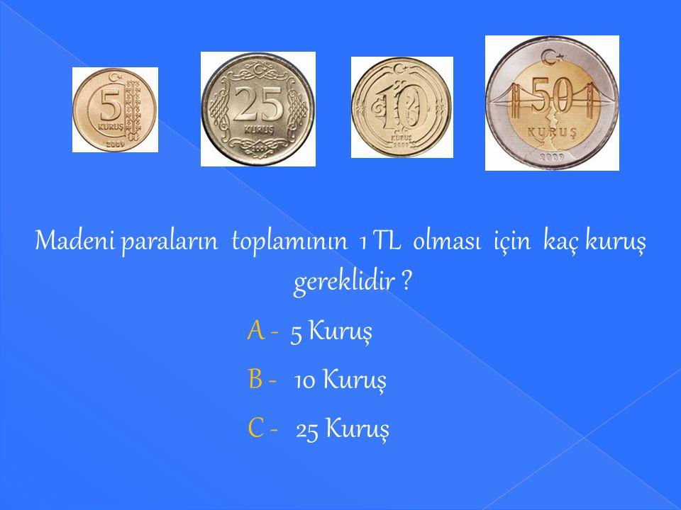 Madeni paraların toplamının 1 TL olması için kaç kuruş gereklidir