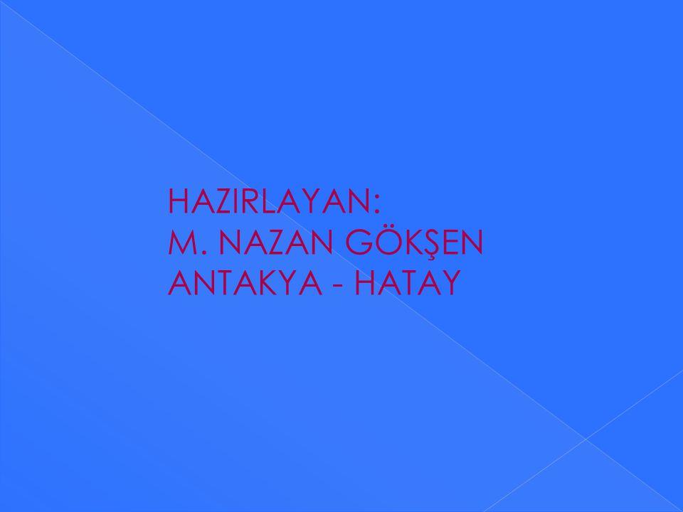 HAZIRLAYAN: M. NAZAN GÖKŞEN ANTAKYA - HATAY