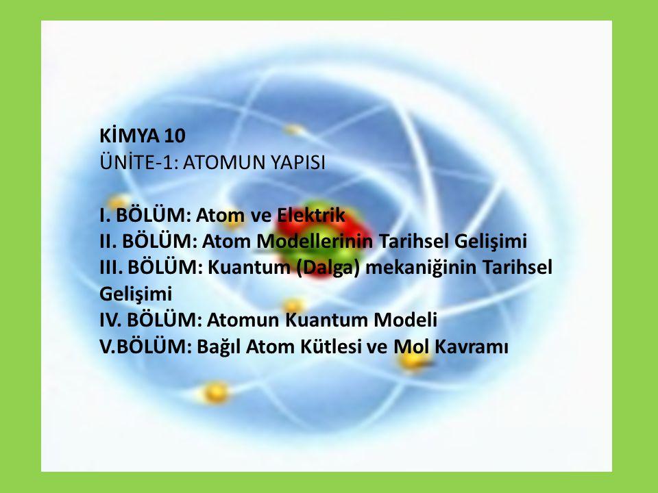 KİMYA 10 ÜNİTE-1: ATOMUN YAPISI. I. BÖLÜM: Atom ve Elektrik. II. BÖLÜM: Atom Modellerinin Tarihsel Gelişimi.