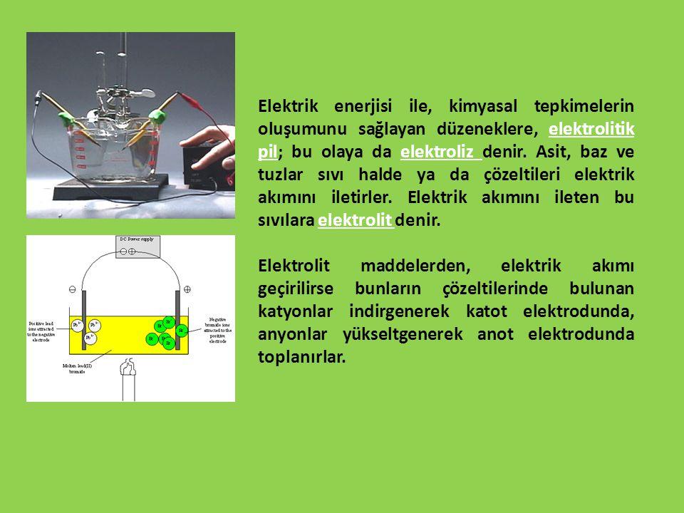 Elektrik enerjisi ile, kimyasal tepkimelerin oluşumunu sağlayan düzeneklere, elektrolitik pil; bu olaya da elektroliz denir. Asit, baz ve tuzlar sıvı halde ya da çözeltileri elektrik akımını iletirler. Elektrik akımını ileten bu sıvılara elektrolit denir.