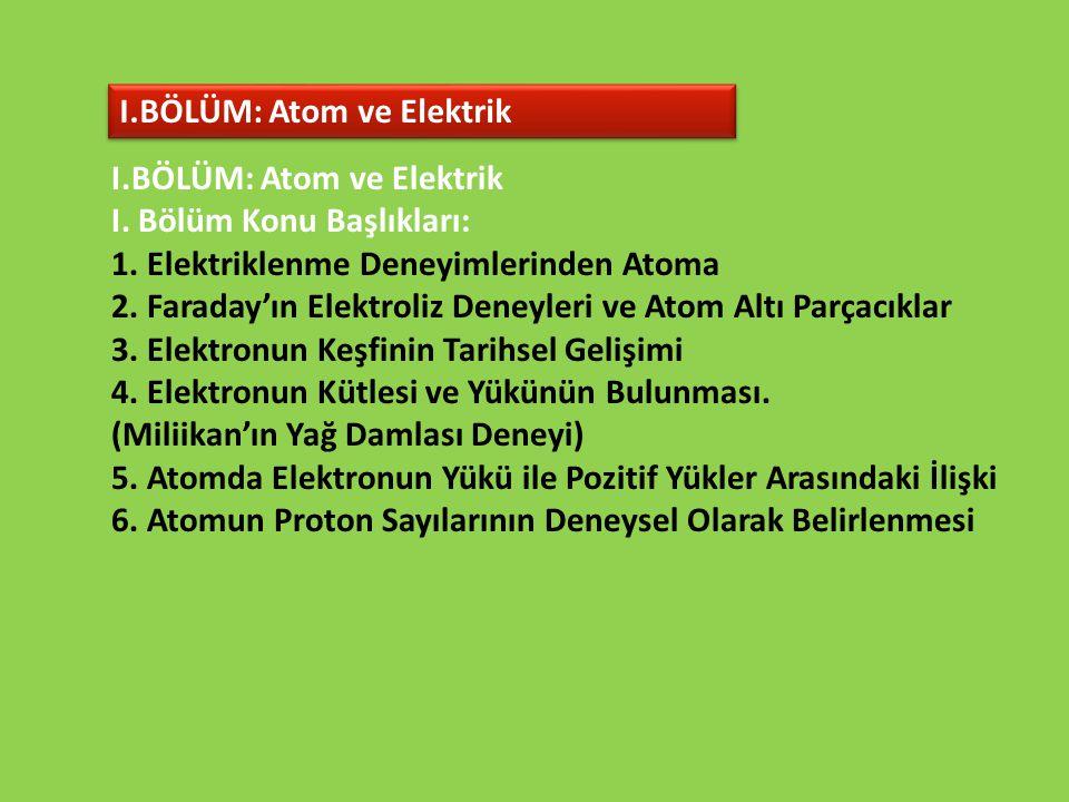 I.BÖLÜM: Atom ve Elektrik