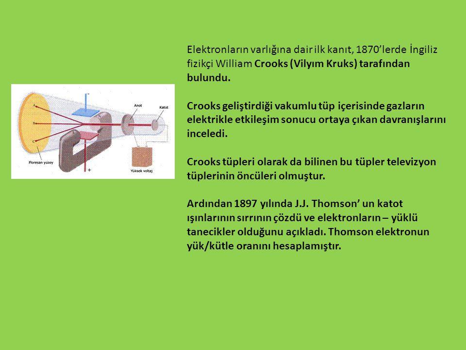 Elektronların varlığına dair ilk kanıt, 1870'lerde İngiliz fizikçi William Crooks (Vilyım Kruks) tarafından bulundu.