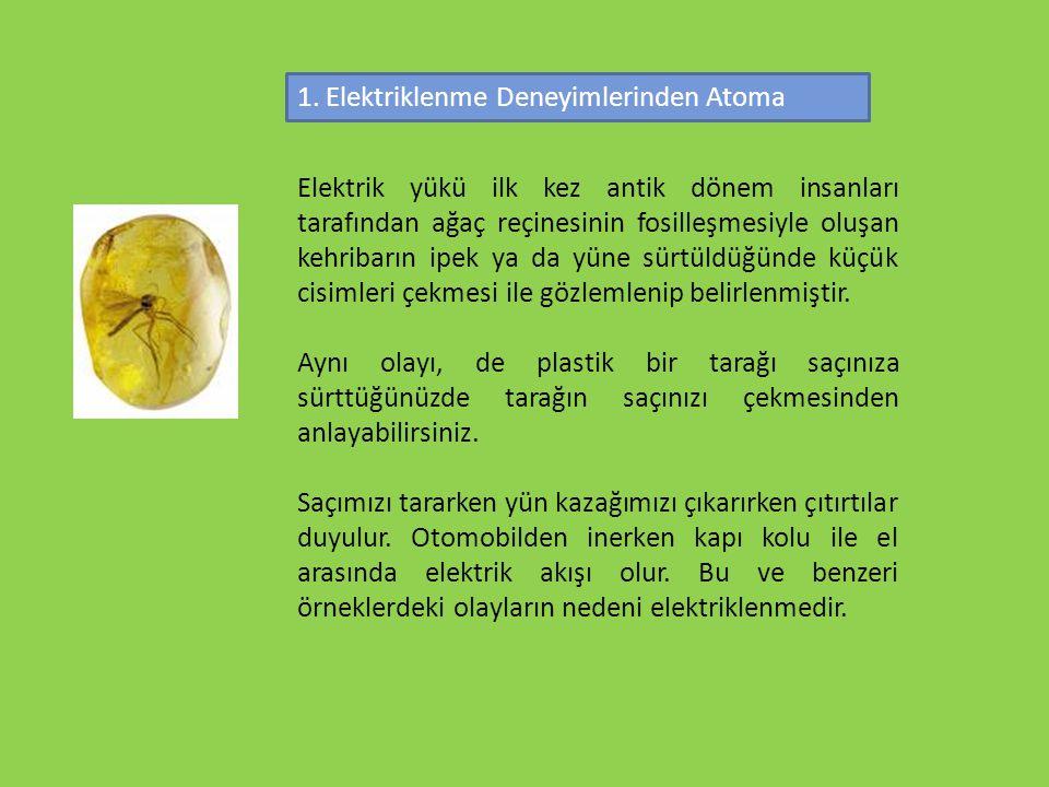 1. Elektriklenme Deneyimlerinden Atoma
