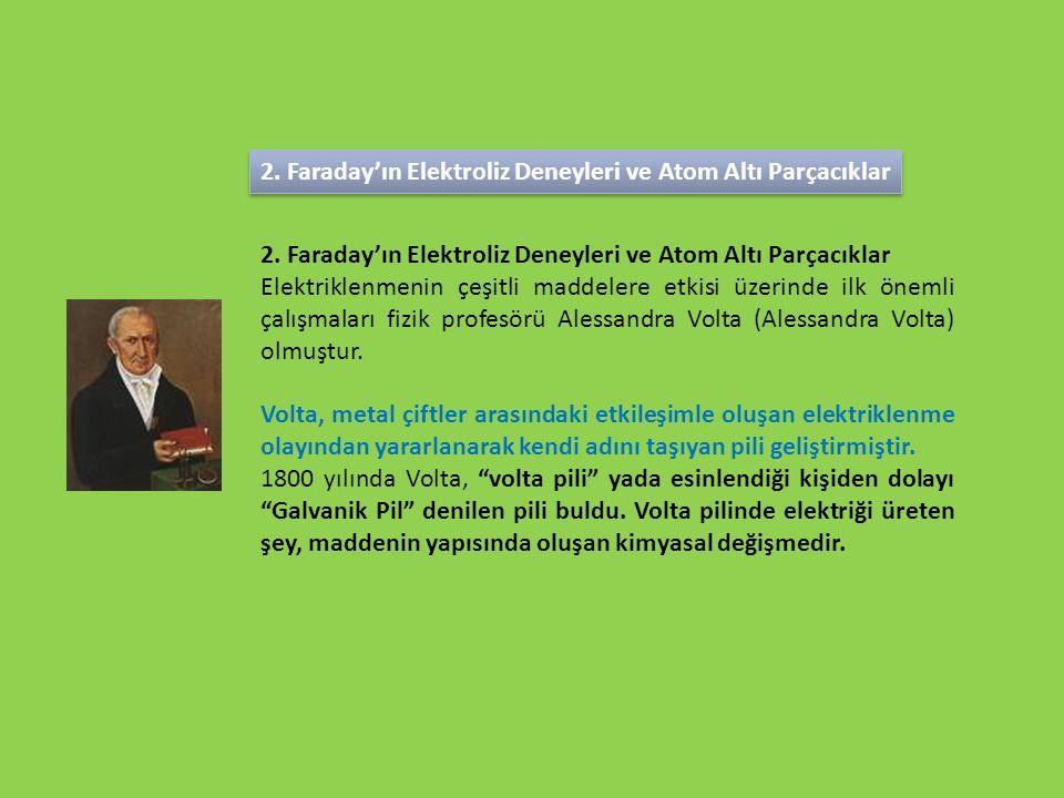 2. Faraday'ın Elektroliz Deneyleri ve Atom Altı Parçacıklar