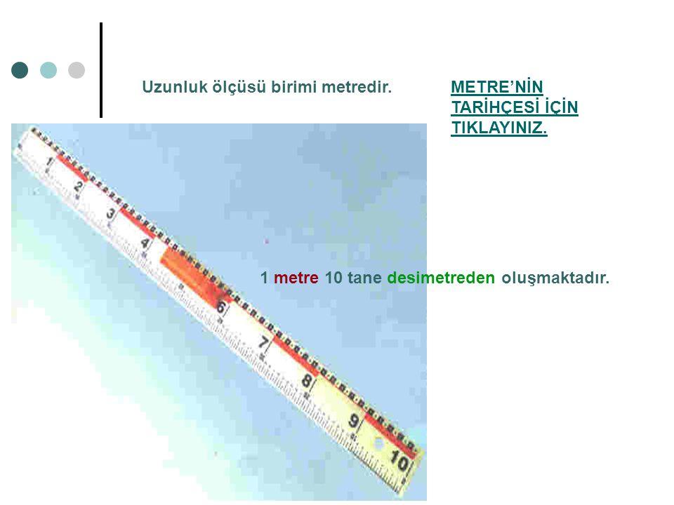 Uzunluk ölçüsü birimi metredir.