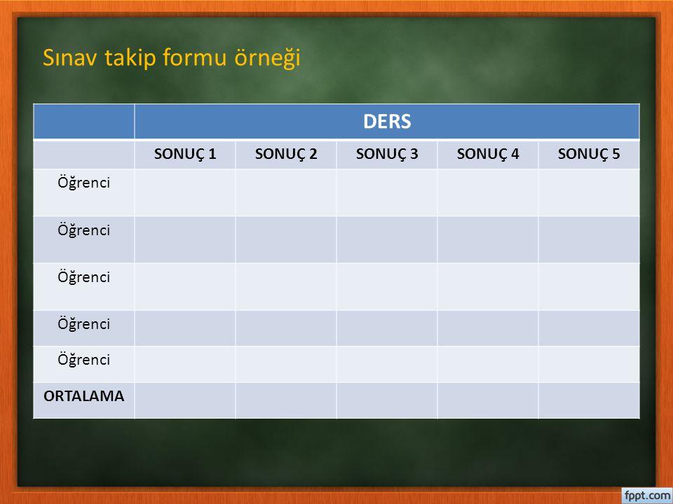 Sınav takip formu örneği
