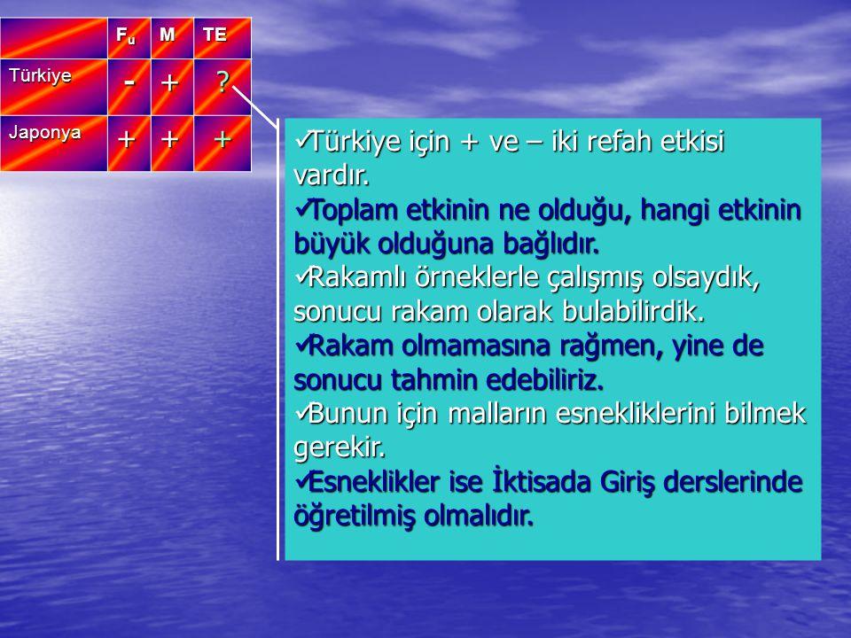 Türkiye için + ve – iki refah etkisi vardır.