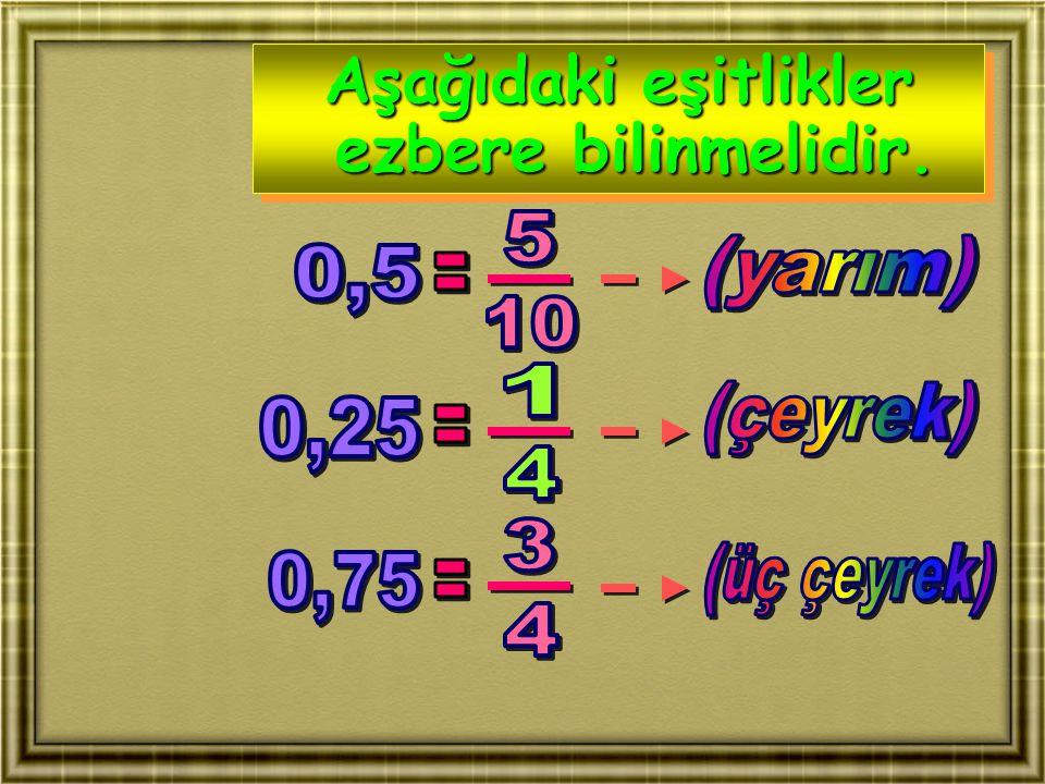 Aşağıdaki eşitlikler ezbere bilinmelidir.