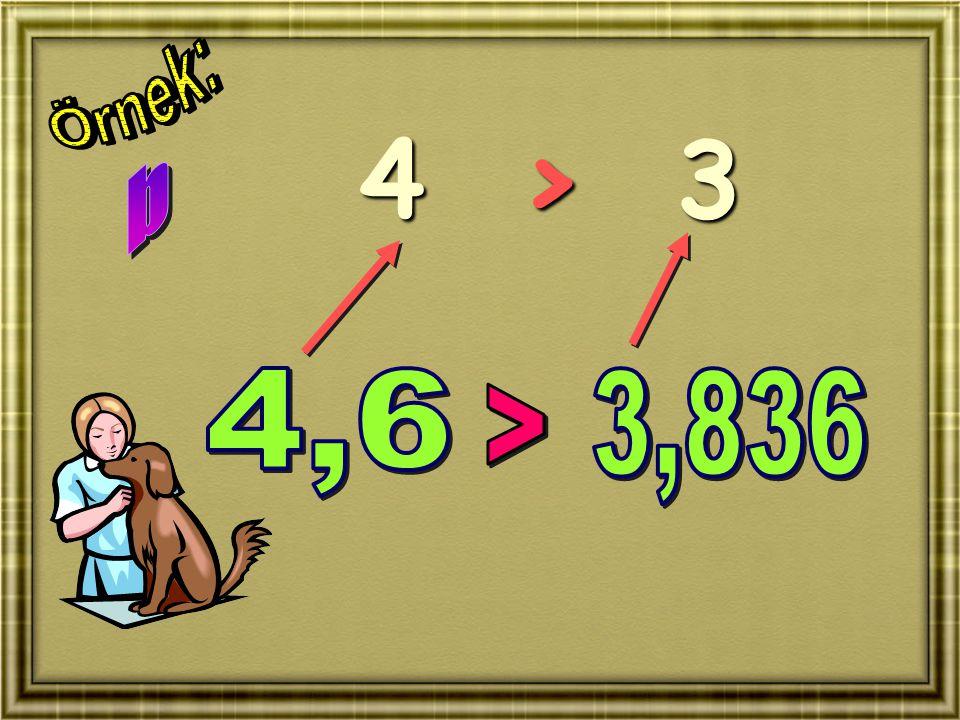 Örnek: 4 > 3 b 4,6 3,836 >