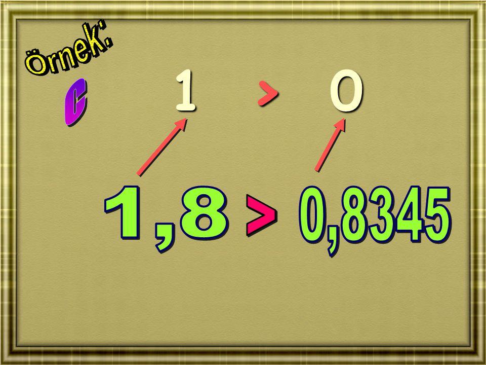 Örnek: 1 > 0 C 1,8 0,8345 >