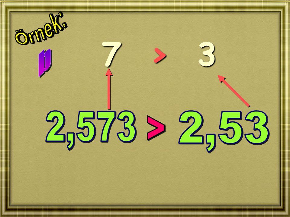 Örnek: 7 > 3 b 2,573 2,53 >