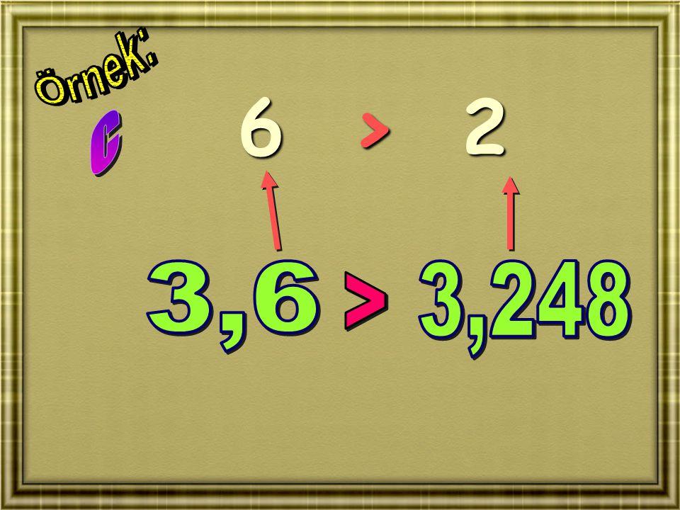 Örnek: 6 > 2 c 3,6 3,248 >