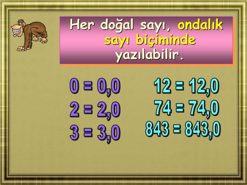 Her doğal sayı, ondalık sayı biçiminde yazılabilir.
