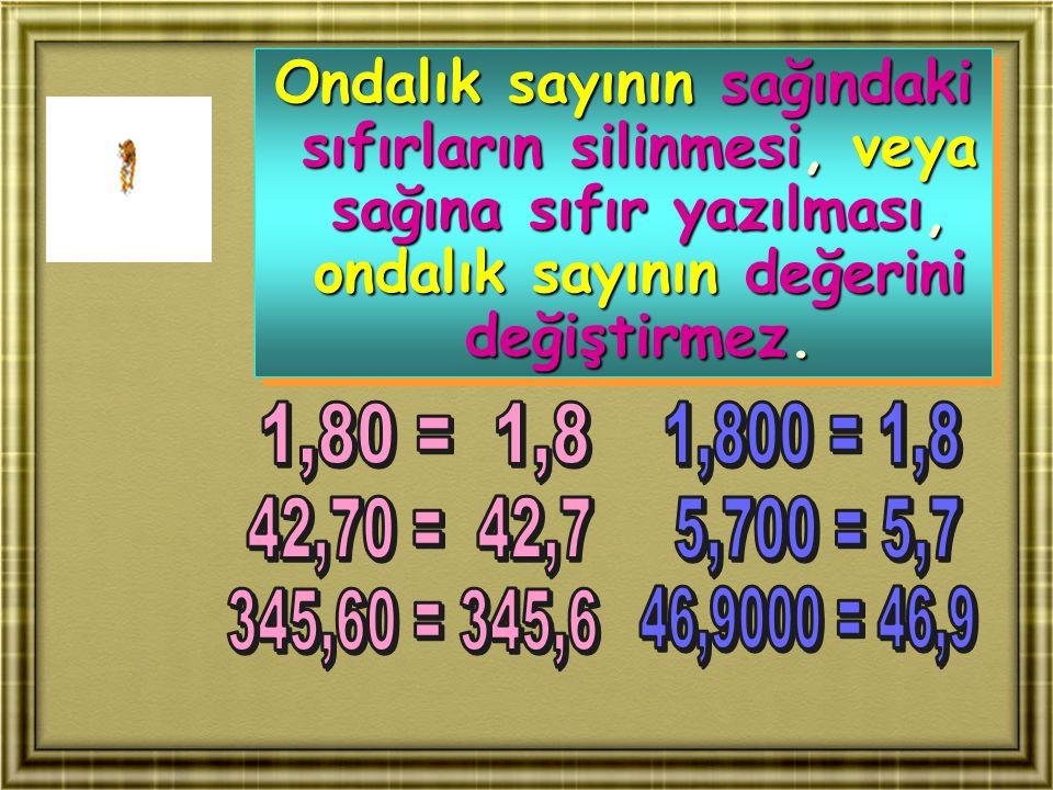 Ondalık sayının sağındaki sıfırların silinmesi, veya sağına sıfır yazılması, ondalık sayının değerini değiştirmez.