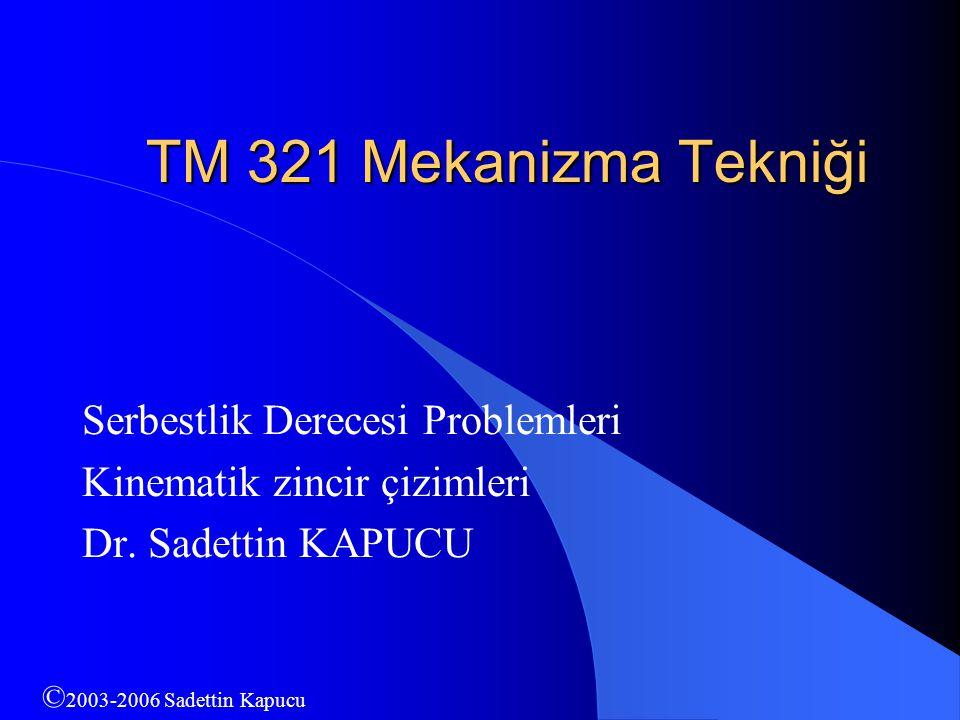 TM 321 Mekanizma Tekniği Serbestlik Derecesi Problemleri
