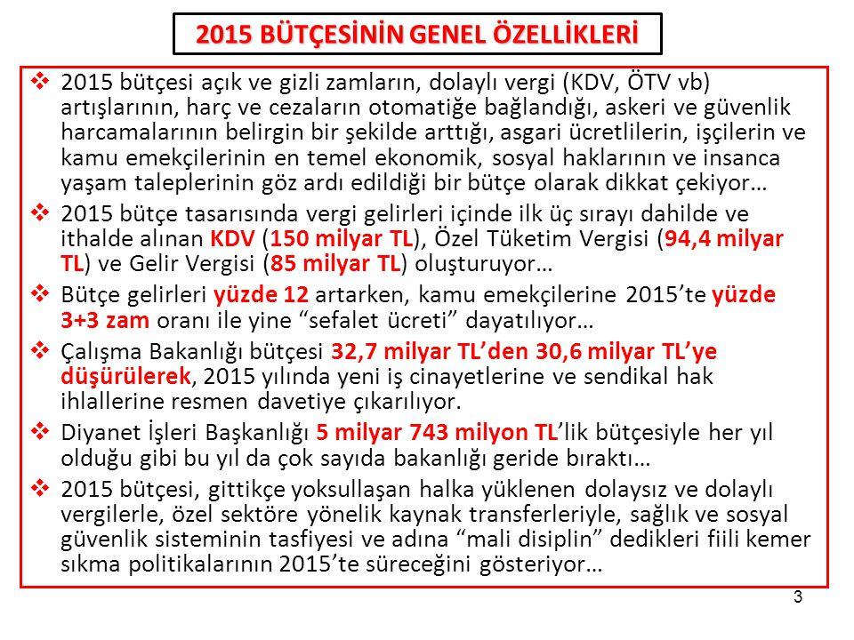 2015 BÜTÇESİNİN GENEL ÖZELLİKLERİ