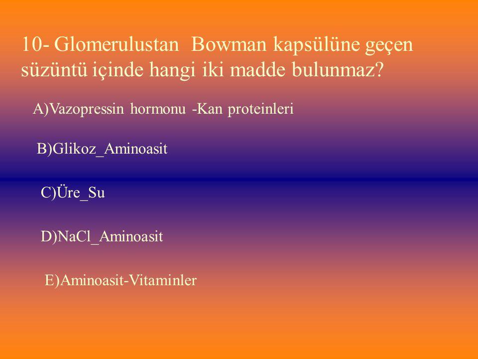 10- Glomerulustan Bowman kapsülüne geçen süzüntü içinde hangi iki madde bulunmaz