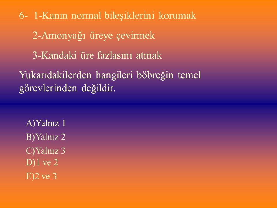 6- 1-Kanın normal bileşiklerini korumak 2-Amonyağı üreye çevirmek