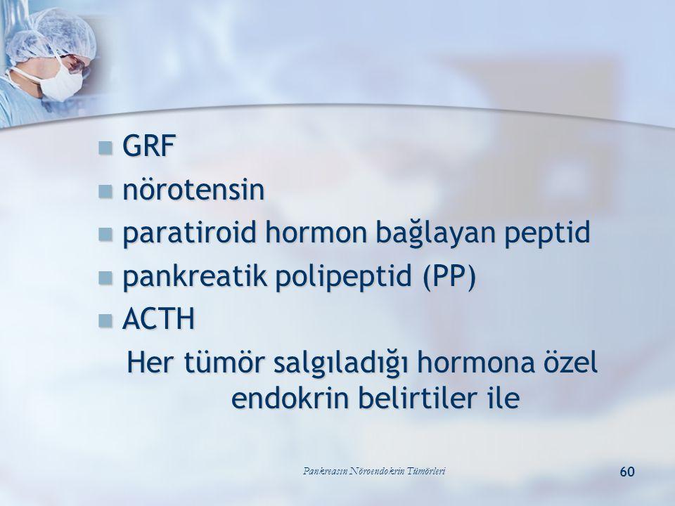 paratiroid hormon bağlayan peptid pankreatik polipeptid (PP) ACTH