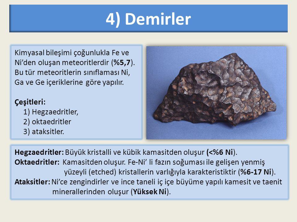 4) Demirler Kimyasal bileşimi çoğunlukla Fe ve Ni'den oluşan meteoritlerdir (%5,7).