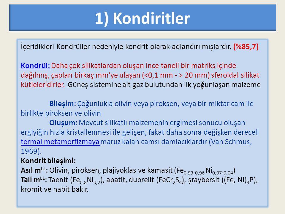 1) Kondiritler İçeridikleri Kondrüller nedeniyle kondrit olarak adlandırılmışlardır. (%85,7)