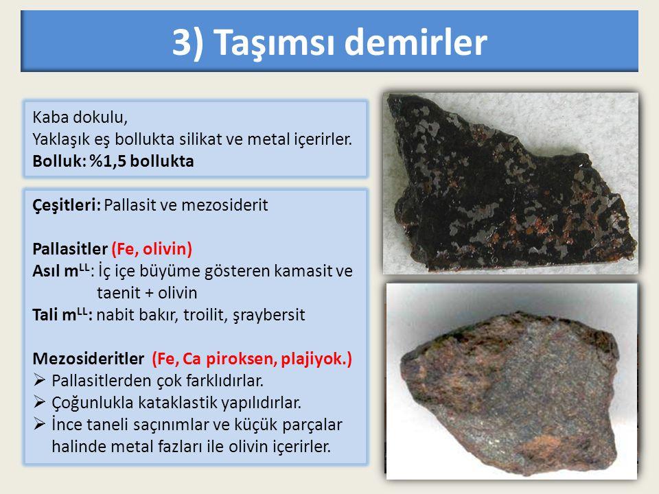3) Taşımsı demirler Kaba dokulu,
