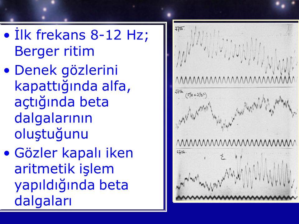 İlk frekans 8-12 Hz; Berger ritim