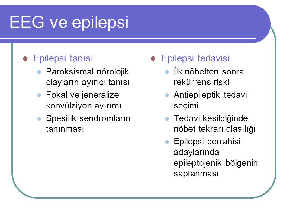 EEG ve epilepsi Epilepsi tanısı Epilepsi tedavisi