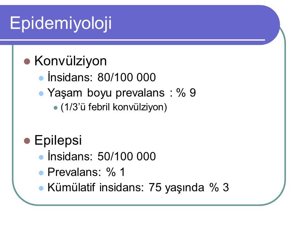Epidemiyoloji Konvülziyon Epilepsi İnsidans: 80/100 000