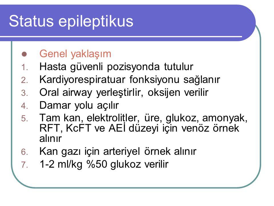 Status epileptikus Genel yaklaşım Hasta güvenli pozisyonda tutulur